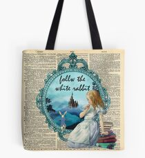 Follow The White Rabbit - Vintage Dictionary page Tote Bag
