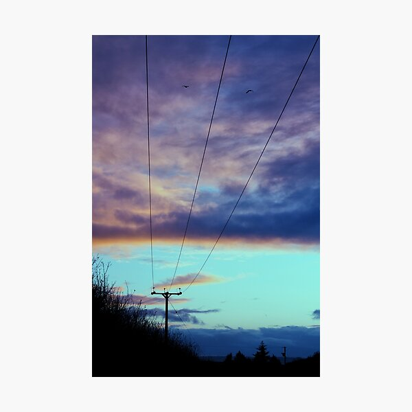 Pale Blue Sunset Silhouette Powerlines Photographic Print