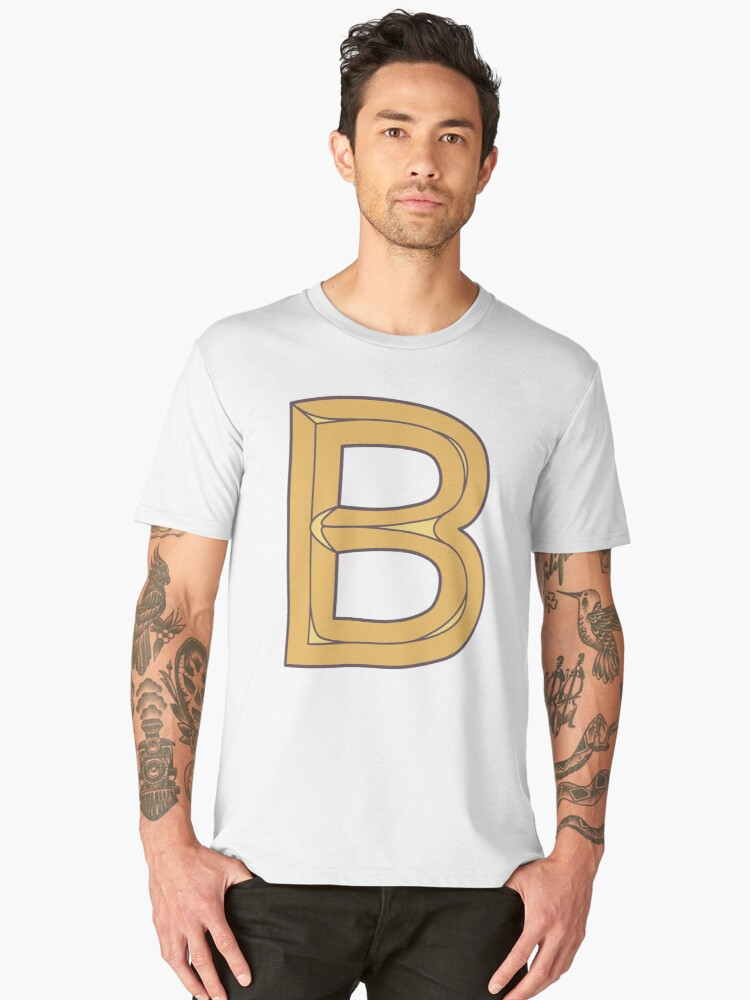 B illustrated alphabet letter Men's Premium T-Shirt Front