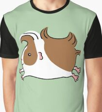 Leaping Guinea-pig ...Brown and White Graphic T-Shirt