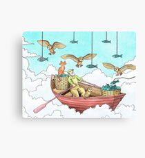 Fish Farmer with owls and a pussycat Canvas Print