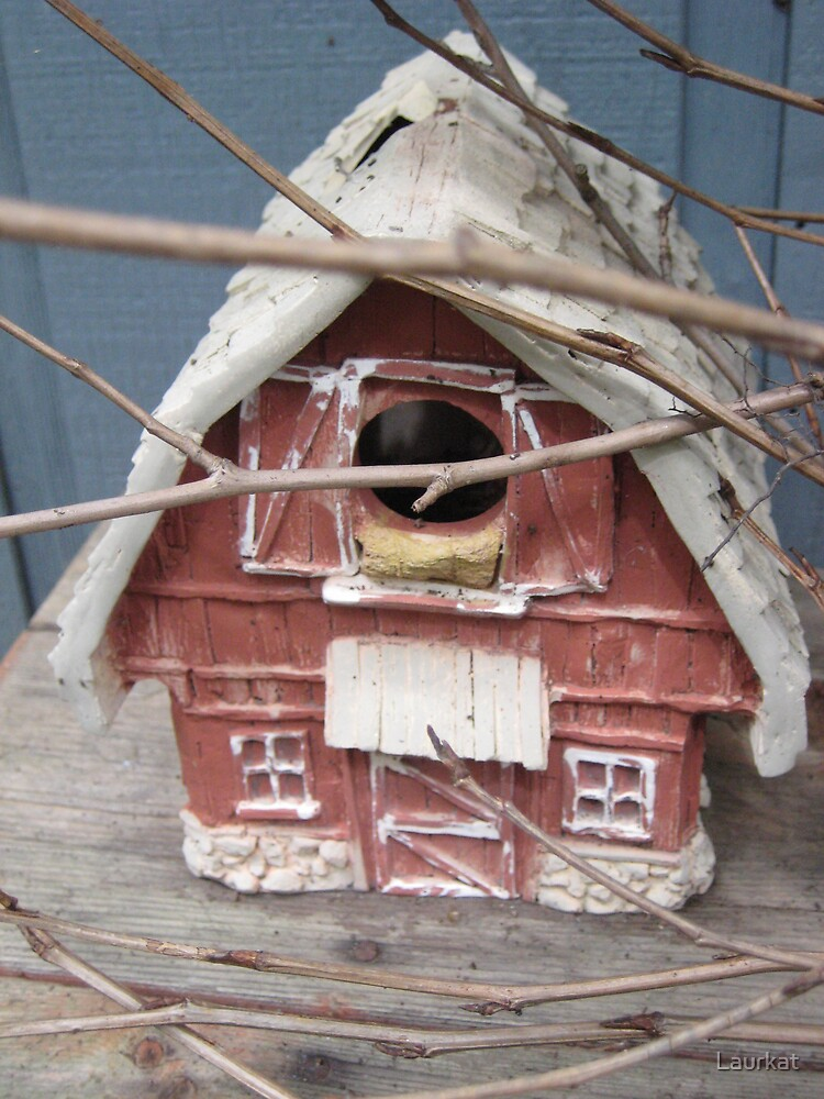 shabby birdhouse on small bench by Laurkat