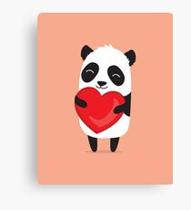 Panda love. Cute cartoon illustration Canvas Print