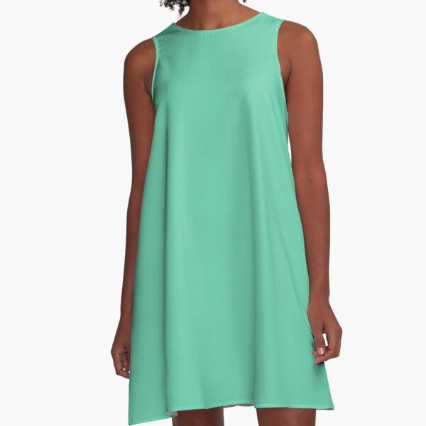 color medium aquamarine A-Line Dress