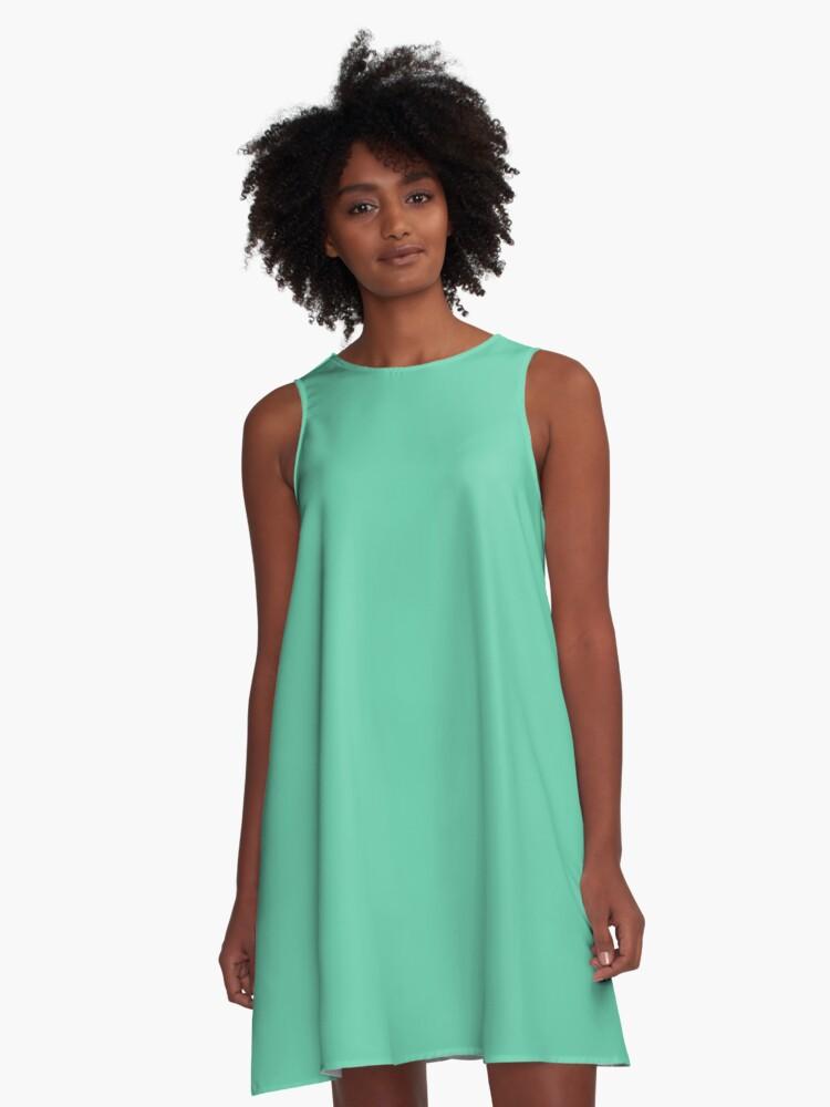 Color medium aquamarine  A-Line Dress Front