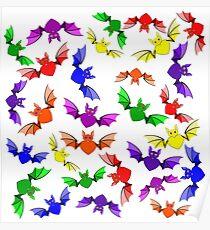 Rainbow Love Bats Poster