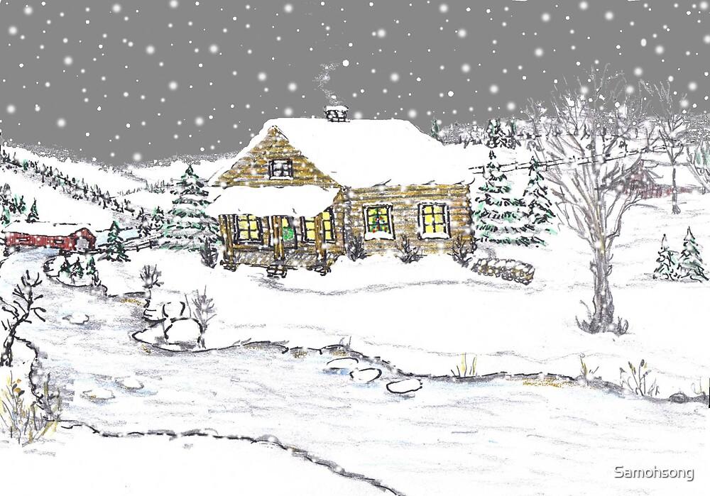 Christmas cabin  by Samohsong