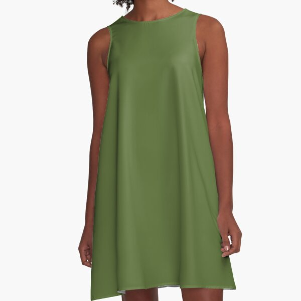 color dark olive green A-Line Dress