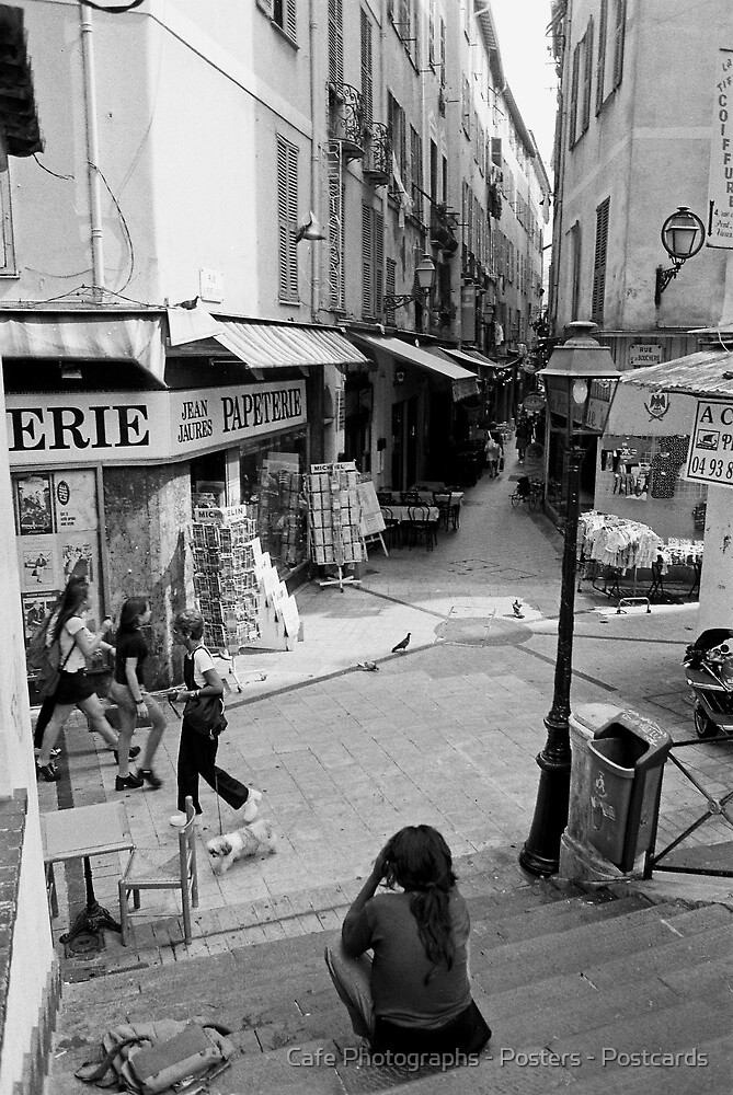 Old Town, Nice by Cafe Photographs - Posters - Postcards