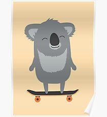 Niedlicher Cartoon-Koala Skateboarding Poster