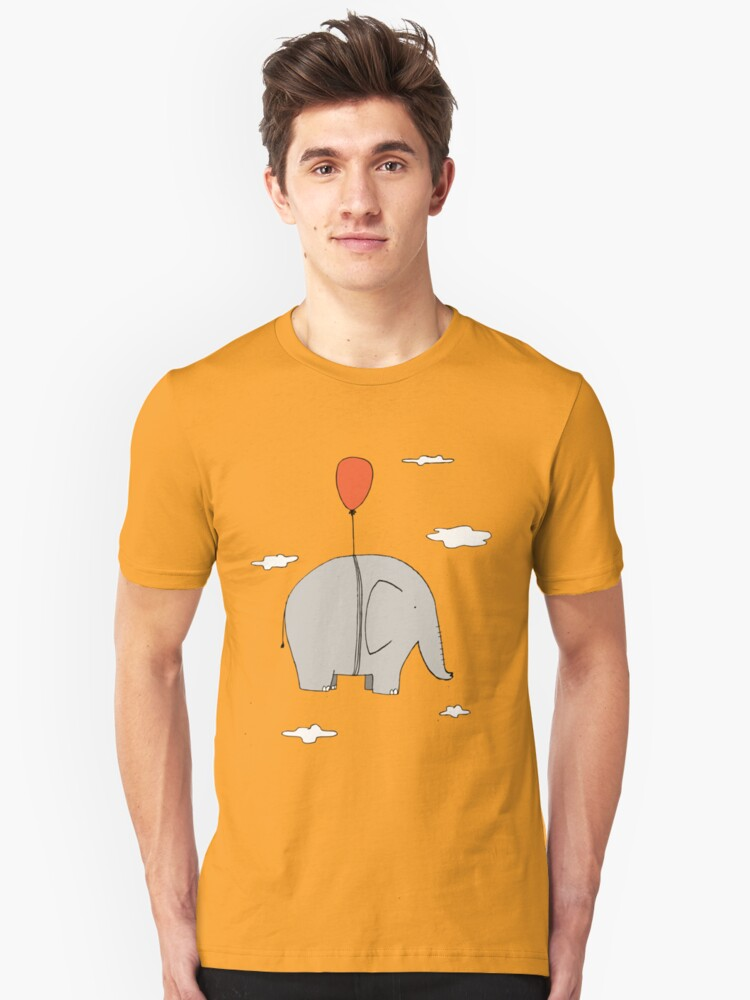 Elephant with a red balloon Unisex T-Shirt Front