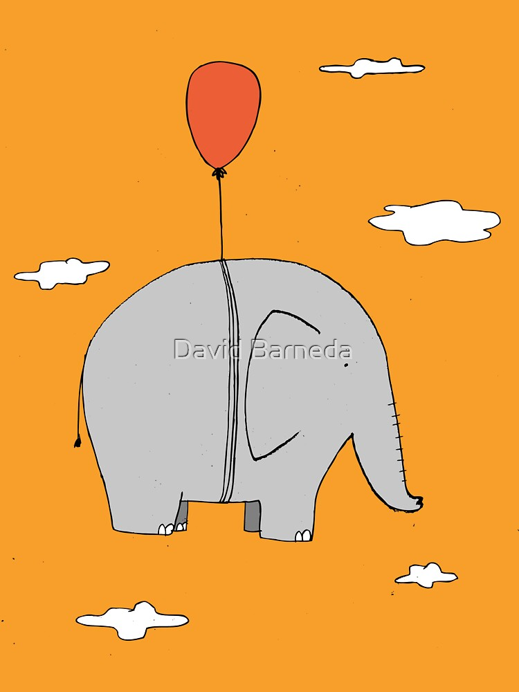 Elephant with a red balloon by barneda