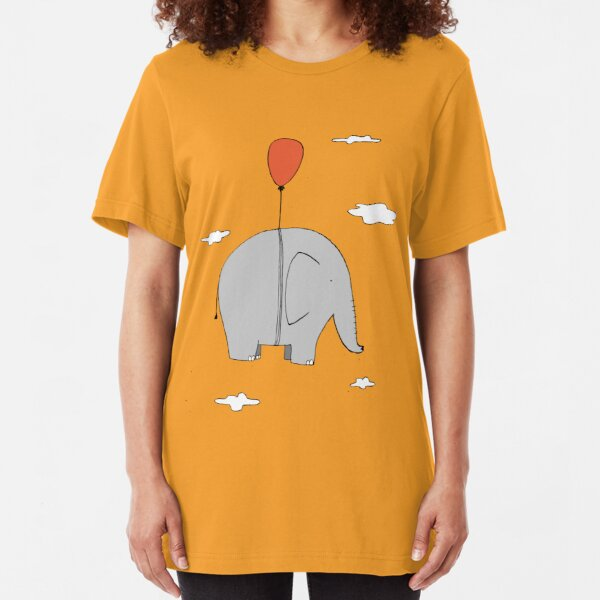 Elephant with a red balloon Slim Fit T-Shirt