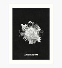 Amsterdam, Holland Black and White Circular Skyline Painting Art Print