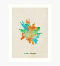Barcelona, Spain Skyround Art / Circular Panoramic Skyline Painting Art Print