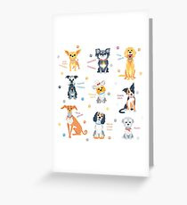 Set of 9 cute dogs Greeting Card