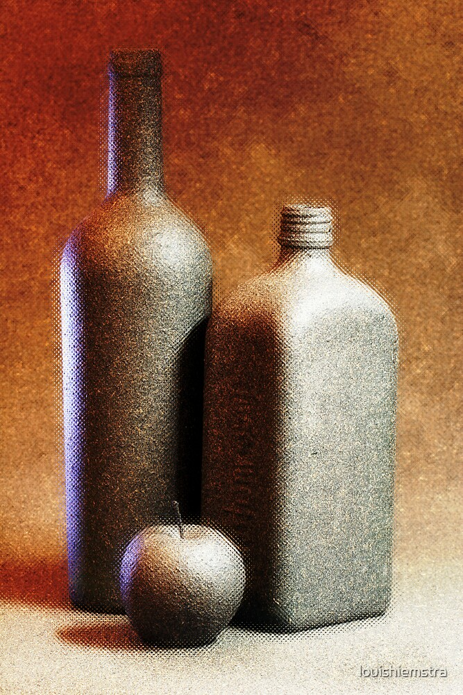 Painted Bottles I by louishiemstra