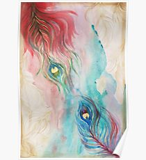 Scarlet and Viridian Watercolor Peacock Feathers Poster