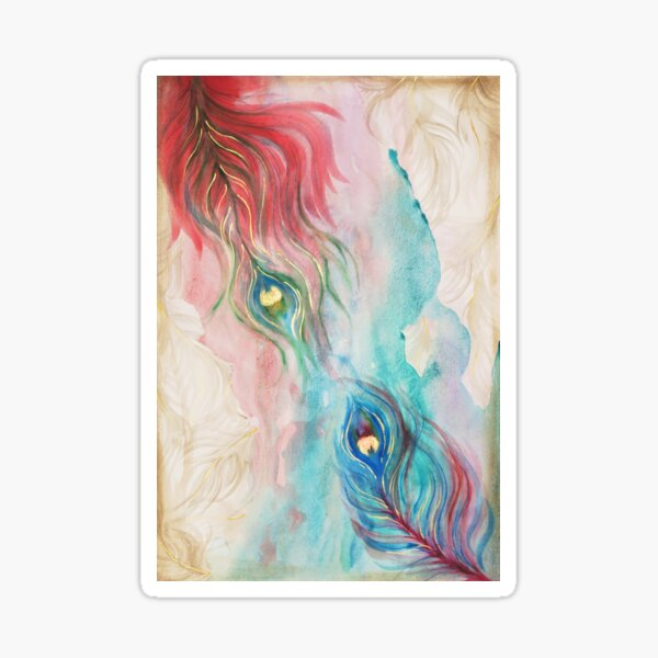 Scarlet and Viridian Watercolor Peacock Feathers Sticker