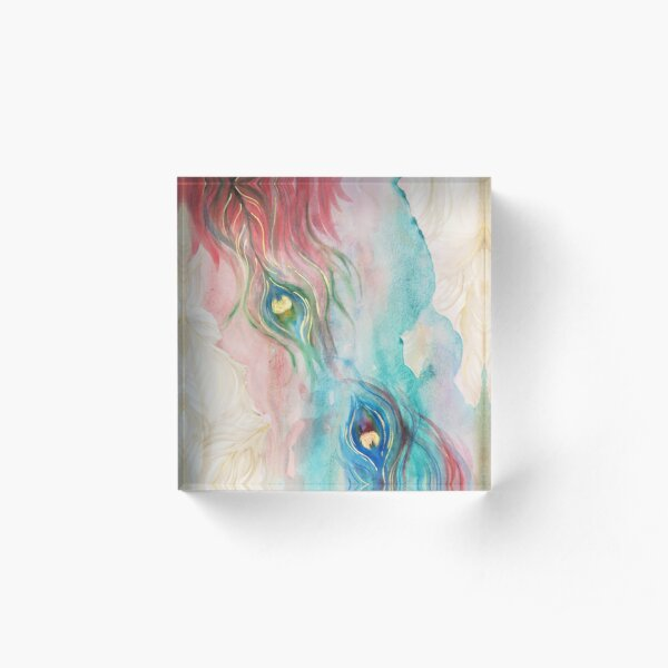 Scarlet and Viridian Watercolor Peacock Feathers Acrylic Block