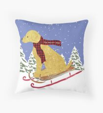Golden Retriever Winter Preppy Dog Sledding Throw Pillow