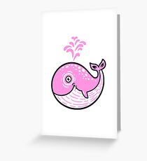 Pink Smile Whale character Greeting Card
