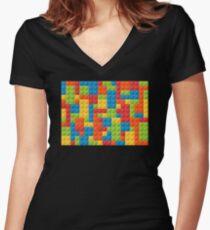 Bricks Women's Fitted V-Neck T-Shirt