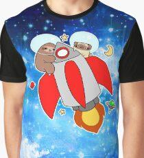 Rocket Ship Sloth Pug Night Sky Graphic T-Shirt