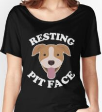 Pit Bull Dog Lover  Resting Pit Face T-Shirt  Women's Relaxed Fit T-Shirt