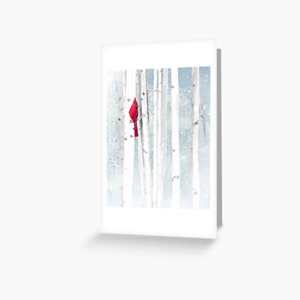Watercolor Red Cardinal Bird Winter Birch Forest Greeting Card
