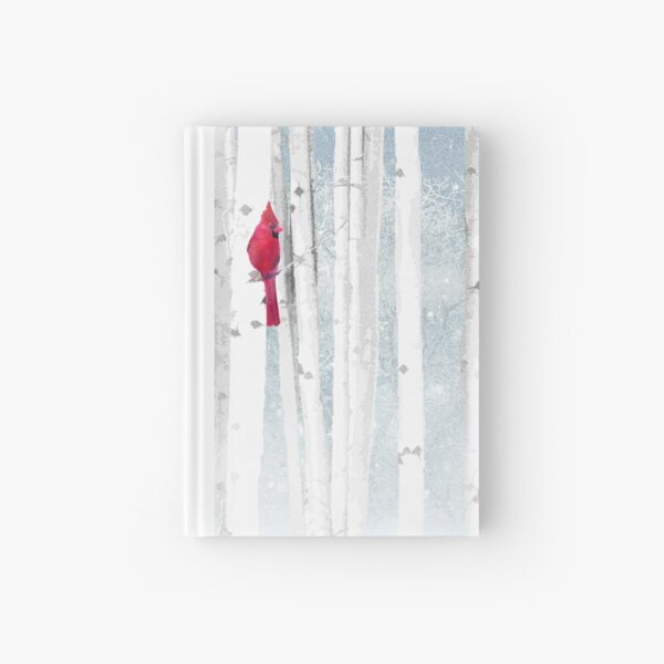Watercolor Red Cardinal Bird Winter Birch Forest Hardcover Journal