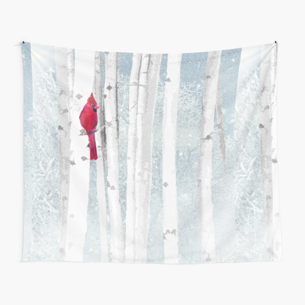 Watercolor Red Cardinal Bird Winter Birch Forest Tapestry