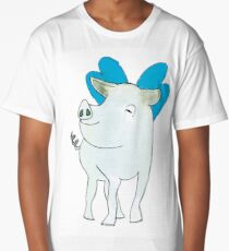 piggy with blue wings Long T-Shirt