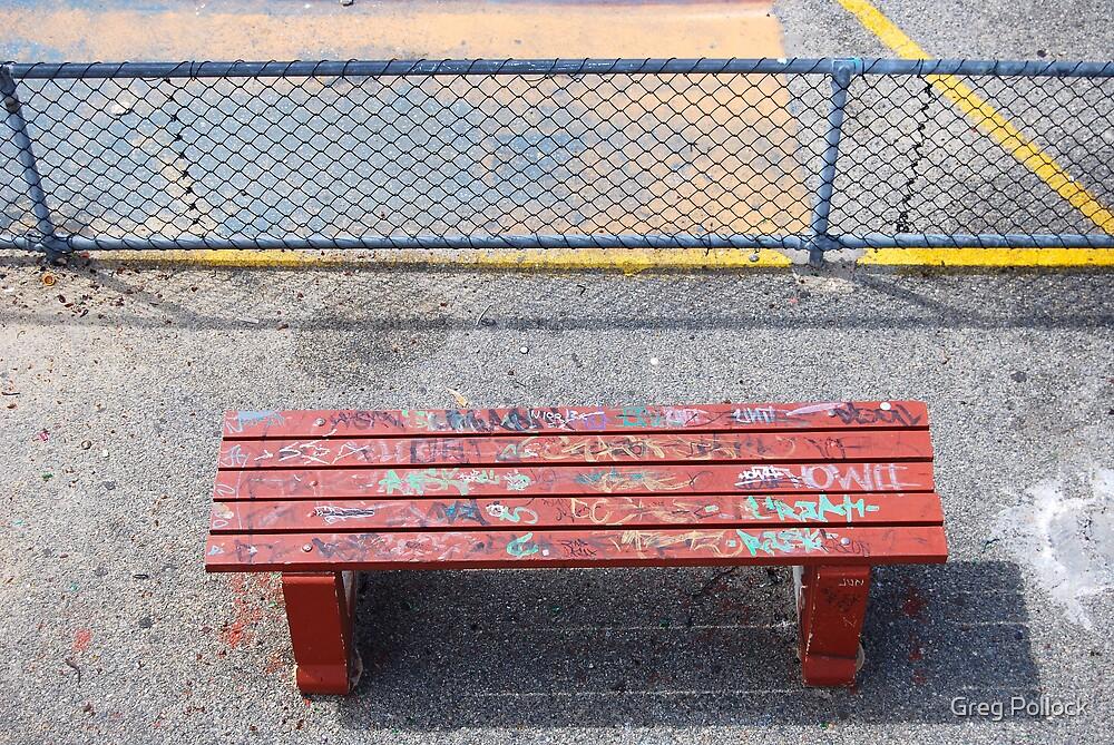 bench graffiti by Greg Pollock