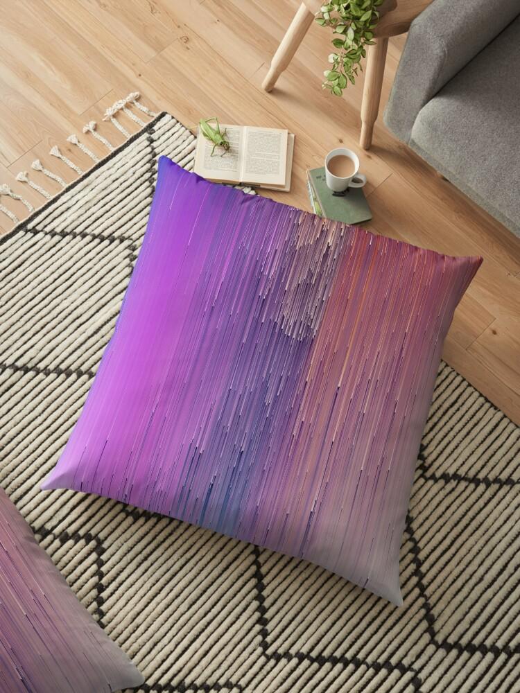 'Digital Glitch Art Data Blast - Glitch Art Print' Floor Pillow by burning