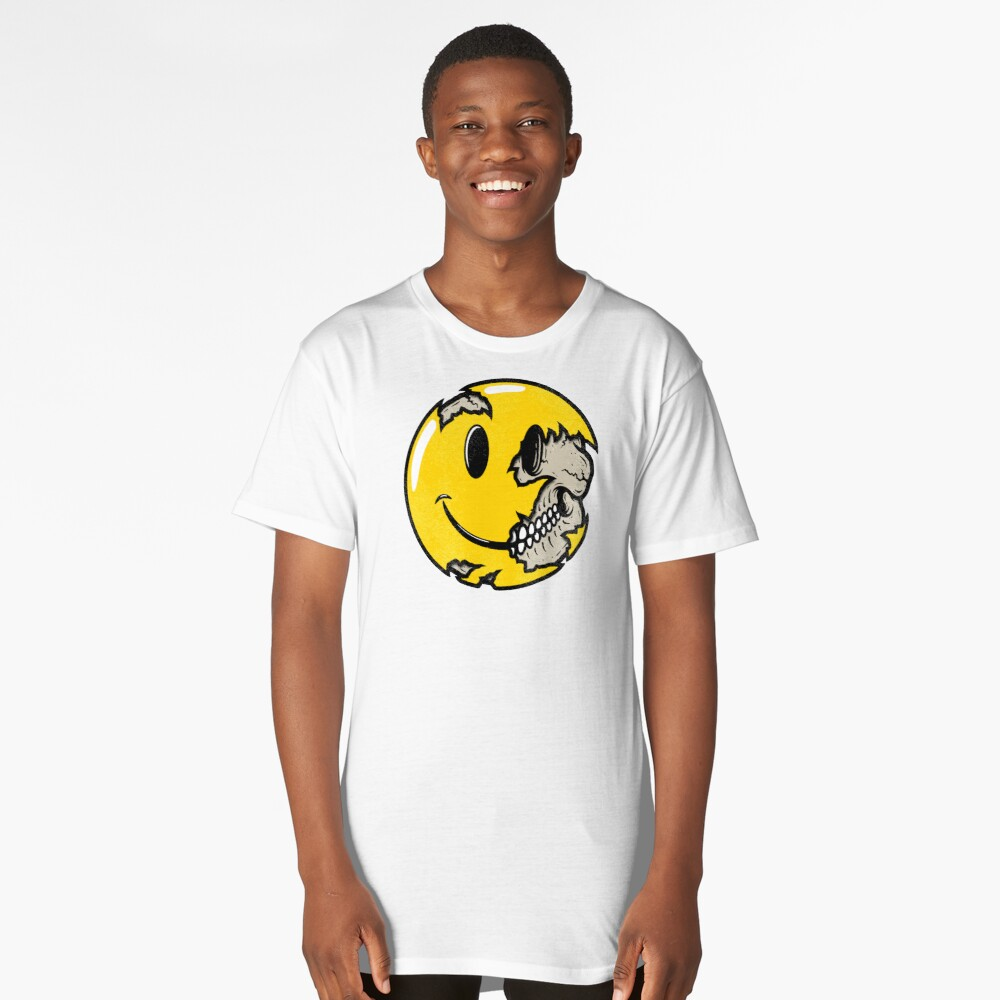 Smiley face skull Long T-Shirt Front