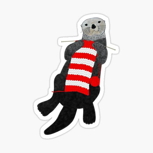 Knitting sea otter Sticker
