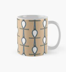 Ancient Egyptian Ankh Symbol of Life in Blue & White on Stone Mug