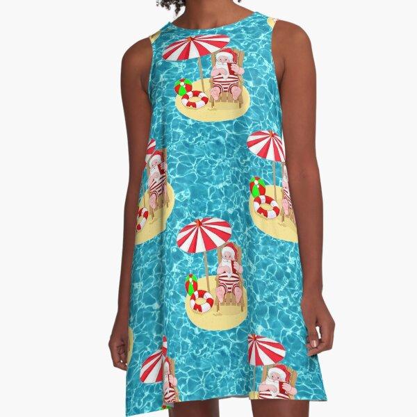 xmas beach santa claus A-Line Dress