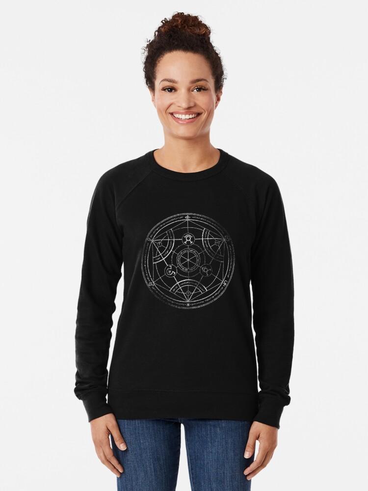 Alternate view of Human transmutation circle - chalk Lightweight Sweatshirt