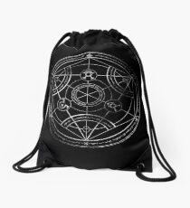 Human transmutation circle - chalk Drawstring Bag