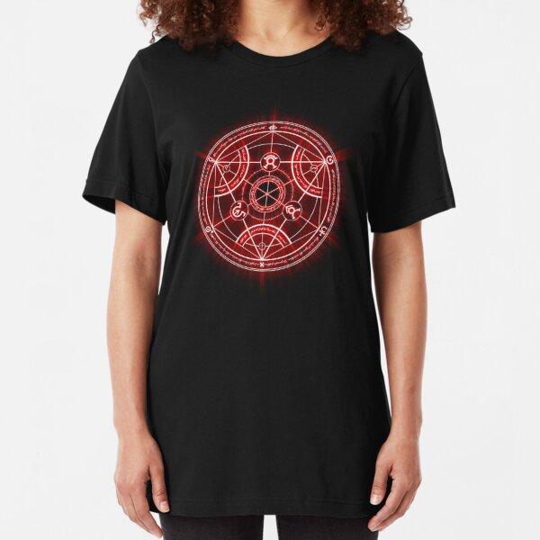 Human Transmutation Circle - Red Slim Fit T-Shirt