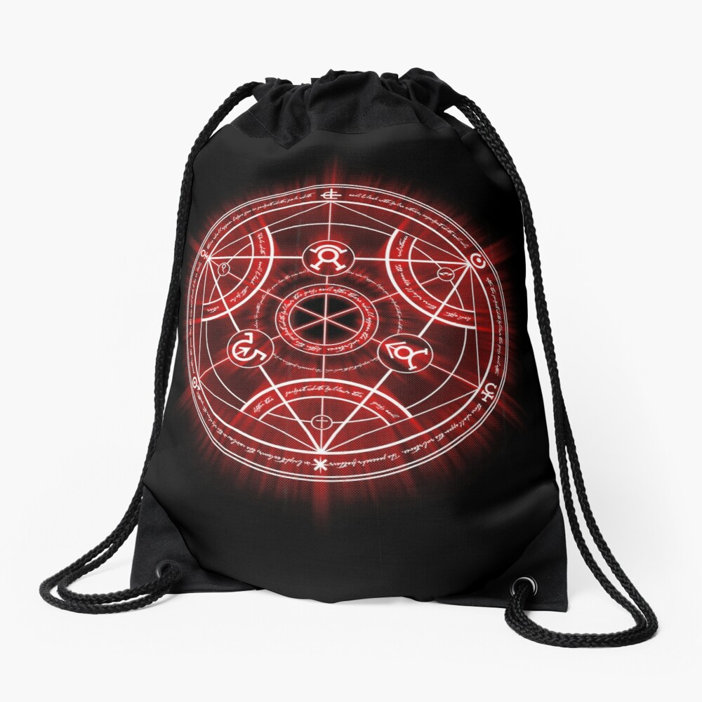Human Transmutation Circle - Red Drawstring Bag