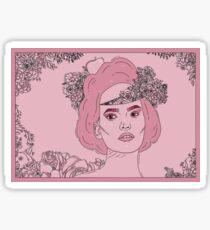 Pink flower girl digital drawing Sticker