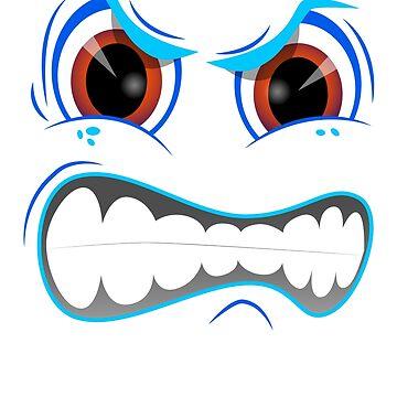 Mad Emoticon Smiley Face Blue Design by BrobocopPrime