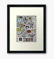 Retro Robots Framed Print
