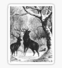 Black and White Winter Bucks Sticker