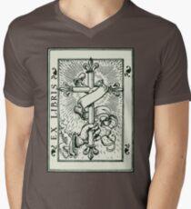 Ex Libris Cross Banner & Fleur De Lys Mens V-Neck T-Shirt
