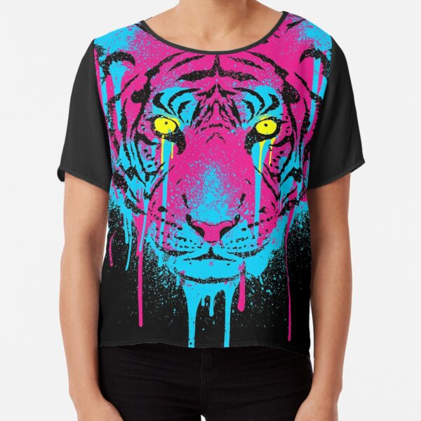 CMYK Tiger Graffiti Chiffon Top