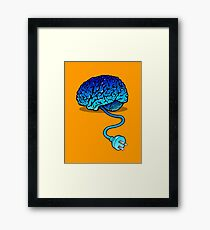 Your Brain without Coffee - Blue Framed Print